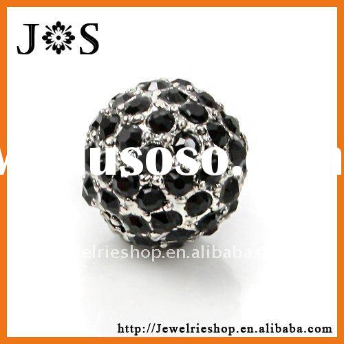 Fashion Wholesale Jet Pave Bead Crystal Ball Jewelry Bead 10mm