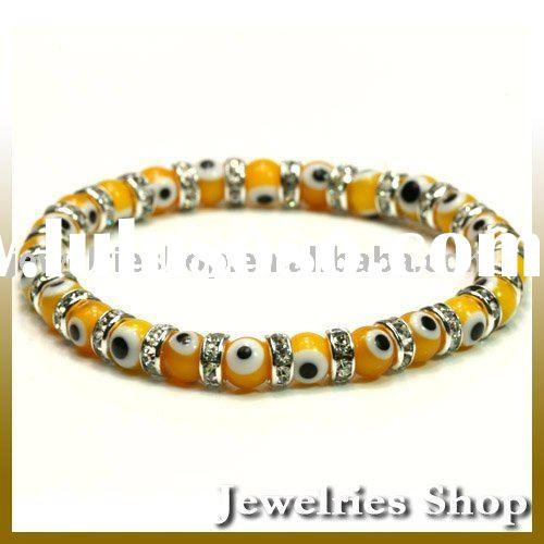 Fashion Yellow Turkish Evil Eye Jewelry Murano Glass Bead 6mm Bracelet with Crystal Spacer