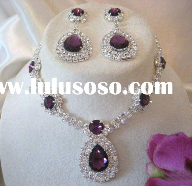 Fashion crystal necklace and earring set wholesale