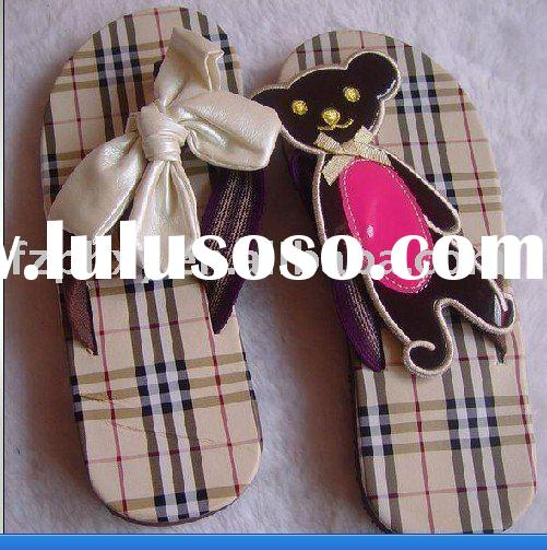 Fashion fabric with decorate lady's flip flop slipper
