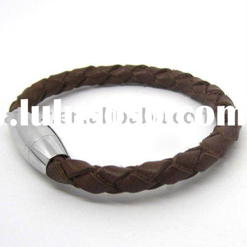 Fashion magnetic clasp Leather bracelet