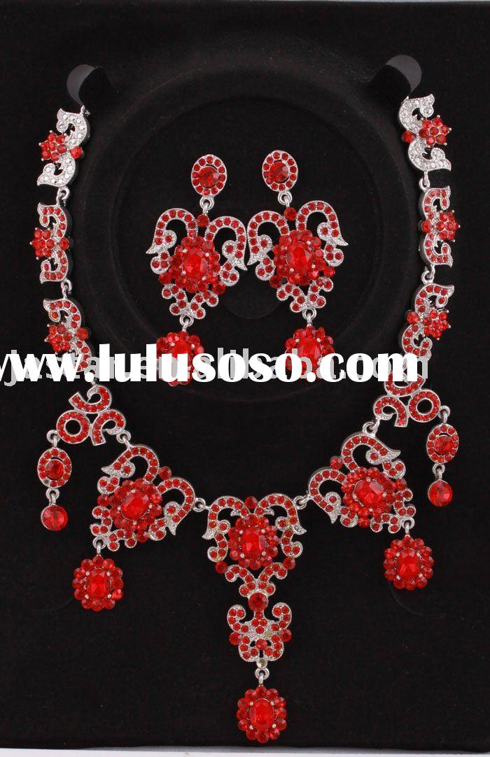 Fashion rhinestone red necklace and earring set