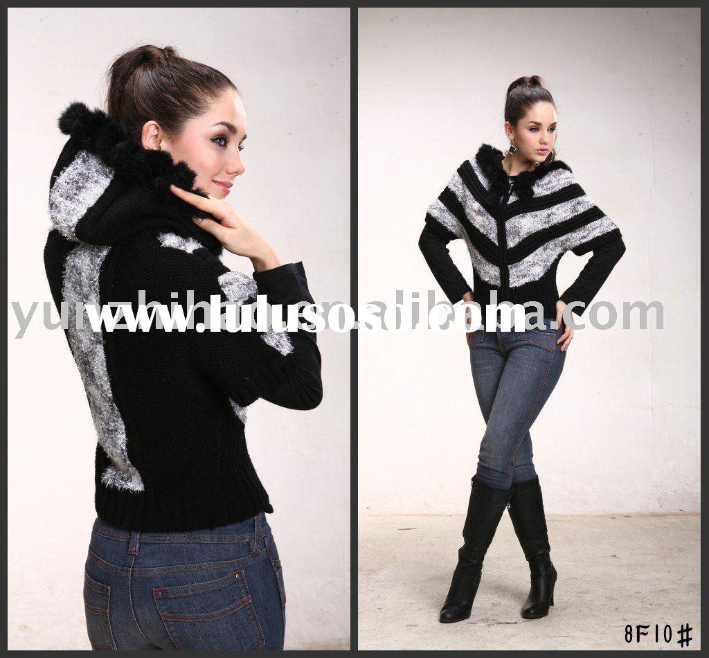 Fashion wool sweater coat for ladies