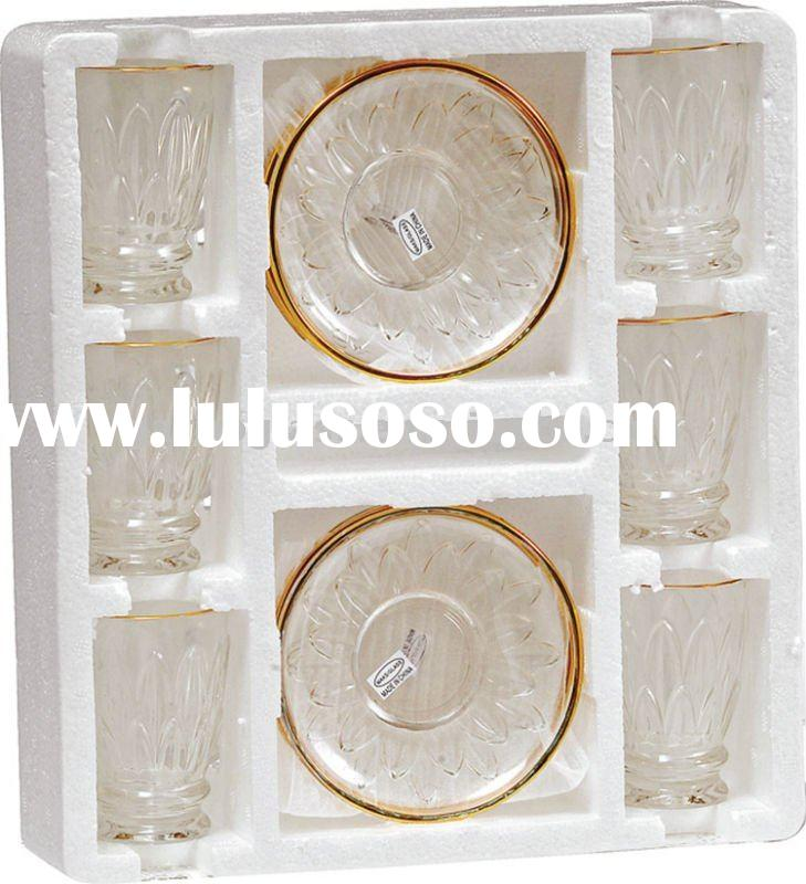 Glass cup and saucer set