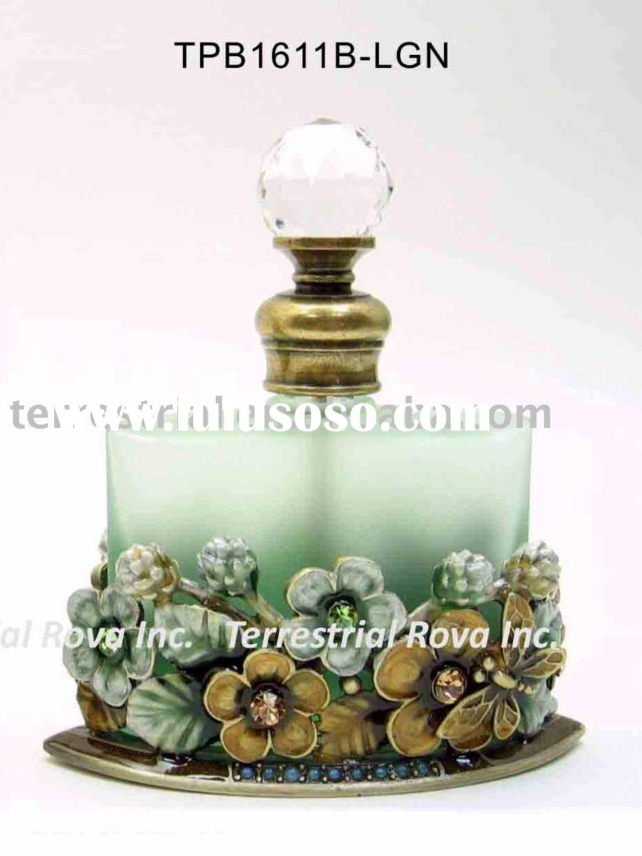 Glass perfume bottle with flower decor