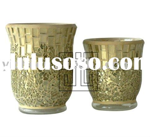 Gold Crackle Glass Mosaic Hurricane Candle Holders