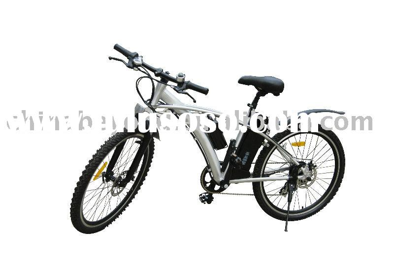 High quality electric mountain bike with alloy frame+shimano 6 speed gears+Li-ion battery