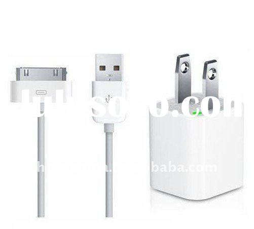 Hot Selling 2pcs US Version Mini Charger and USB Data cable for iPhone 4