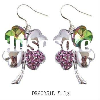 Hot sale 4 Leaf Clover earrings with swarovski crystal silver jewelry DR80351E Accept by PayPal