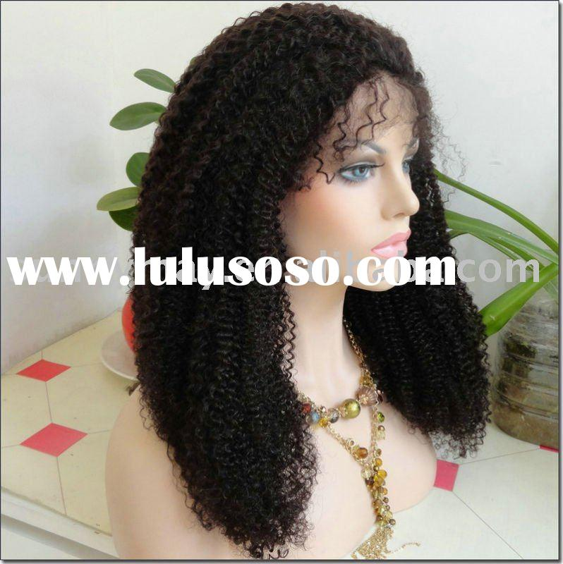 Indian remy hair tight curl front lace wigs