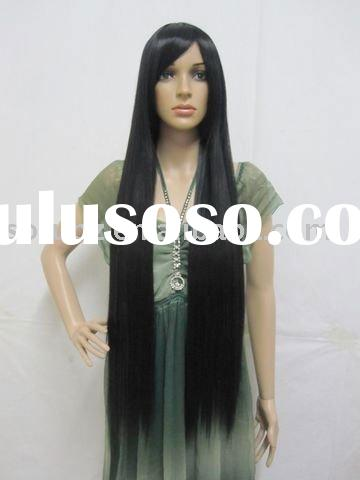 Japanese Anime Long Black Straight Cosplay Hair Wig ML120
