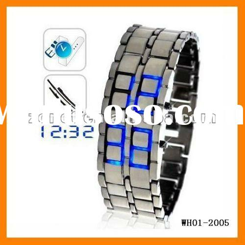 Japanese fashion Lava style iron Red/Blue LED metal LED samurai watch wristwatches WH01-2005