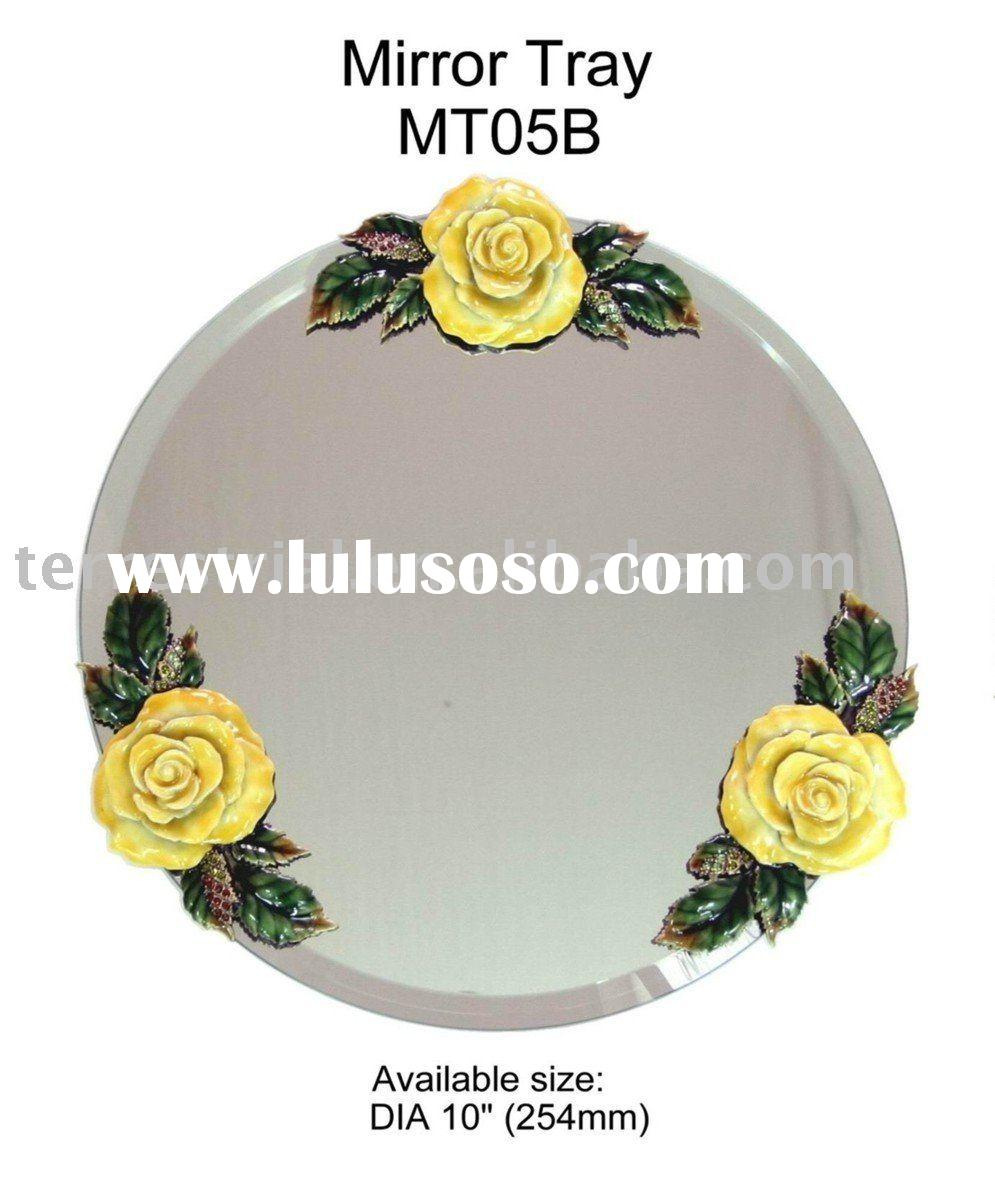 Jeweled Rose Decorative mirror tray for home and gift