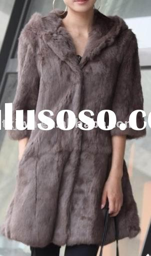 Ladies' fashion rabbit fur coat with hood