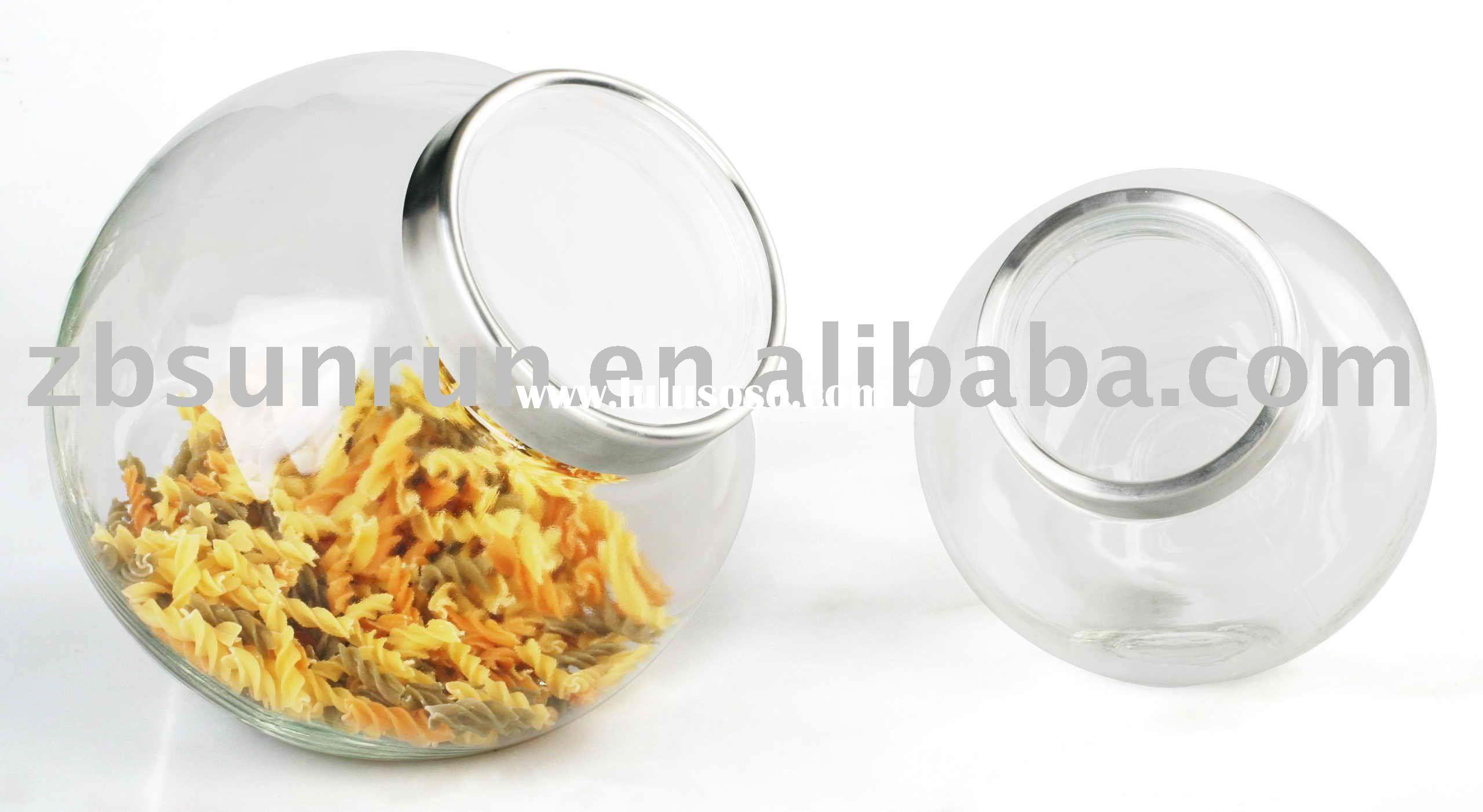 Large Round Glass Jar With stainless steel /acrylic Lid