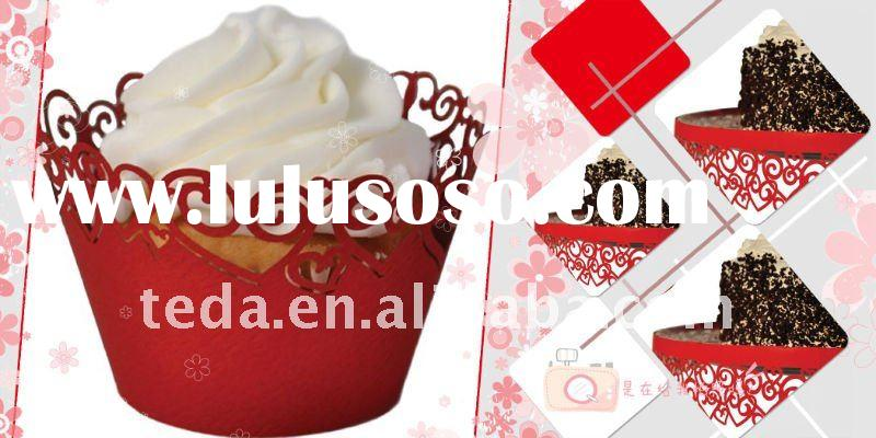 Laser cut cupcake wrapper,250g pearl paper,retail business,individual design