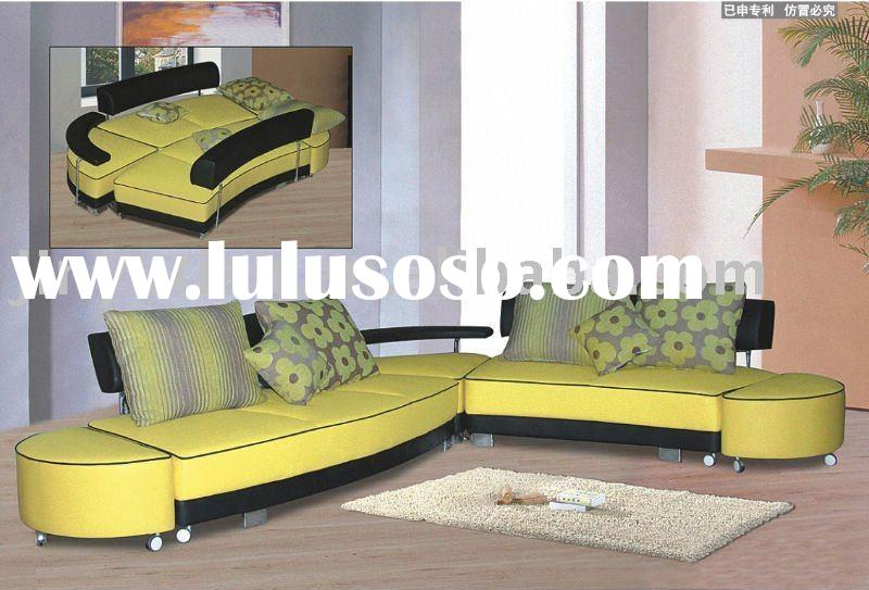Leisure leather corner sofa bed