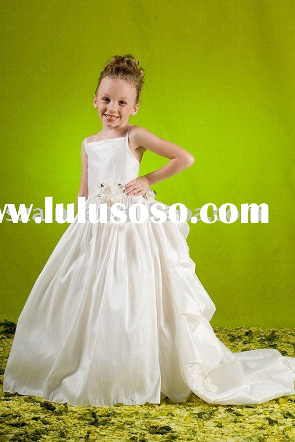 Long Train Tail Taffeta AN-WD-2781d Flower Girl Dress