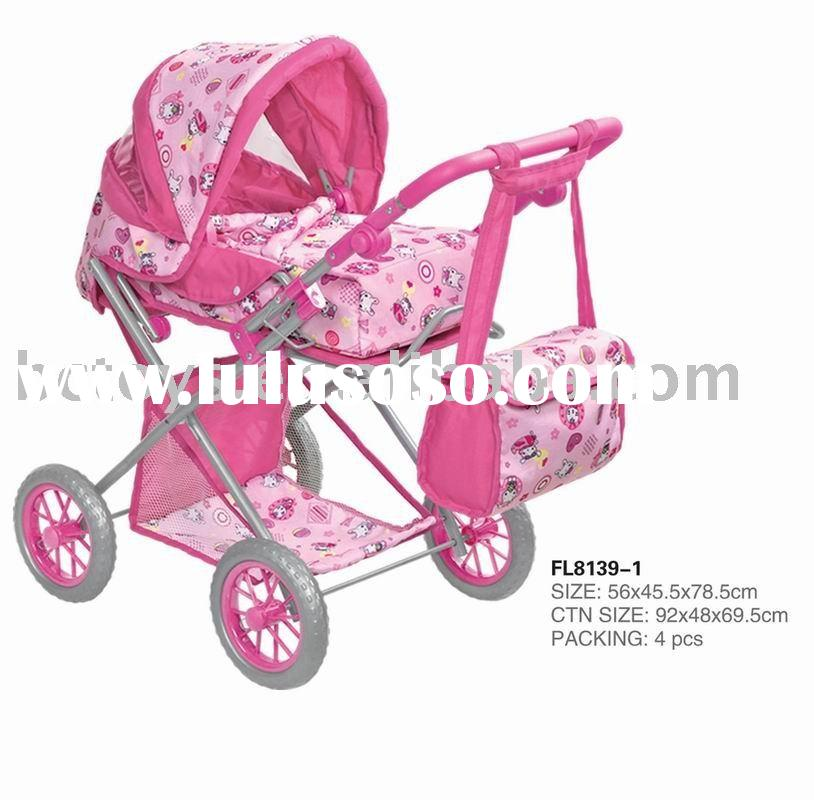 Lovely color baby doll stroller car seat toy with sunshade & storage basket baby & bag