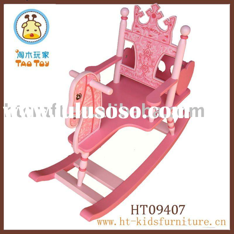 MDF Pink Wood Rocking Horse for kids