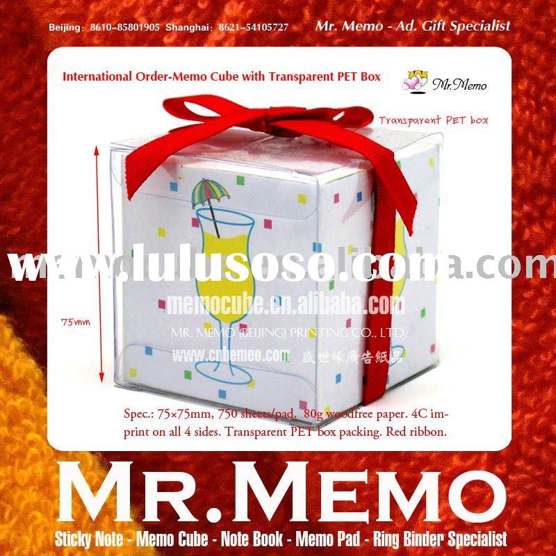 Memo pad--Memo cube with red ribbon/notepad/note cube/paper block/notebook/block note