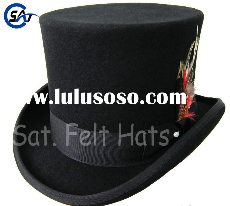 Men's 100% wool felt black classic hat (top hat)