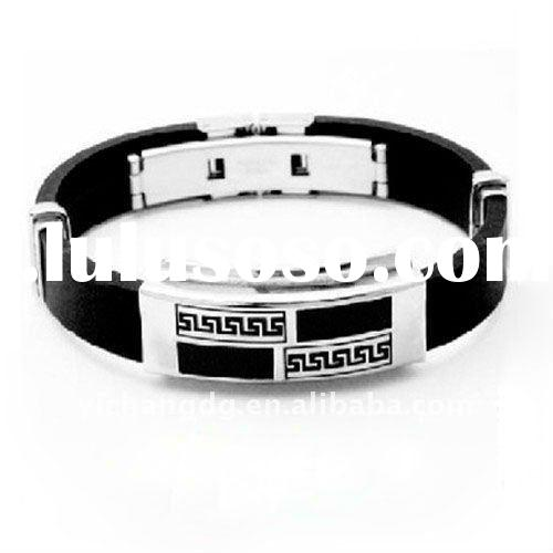 Men's Bracelet - Stainless Steel with Black Rubber Band