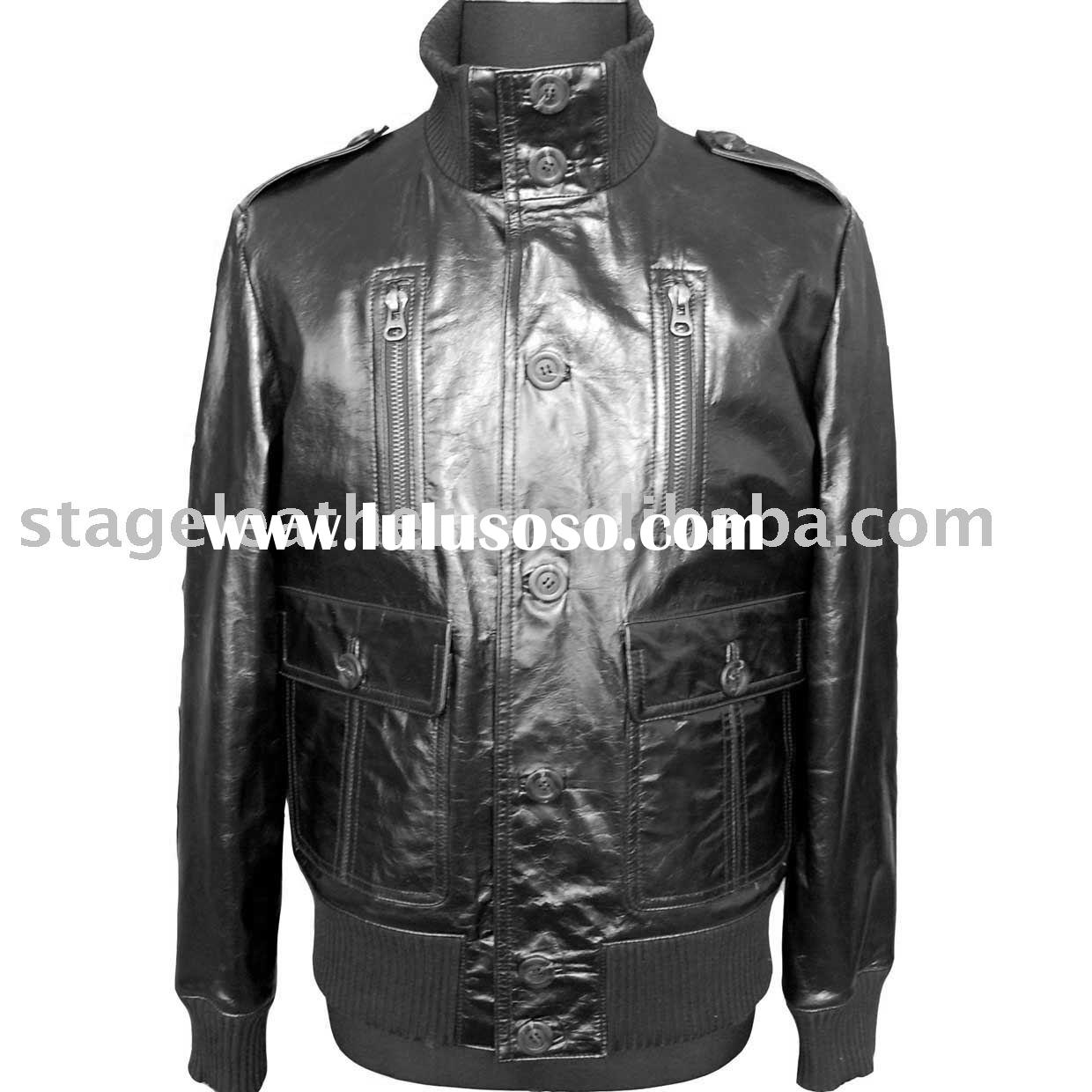 Men's shiny cow leather jacket with YKK zippers on the front part