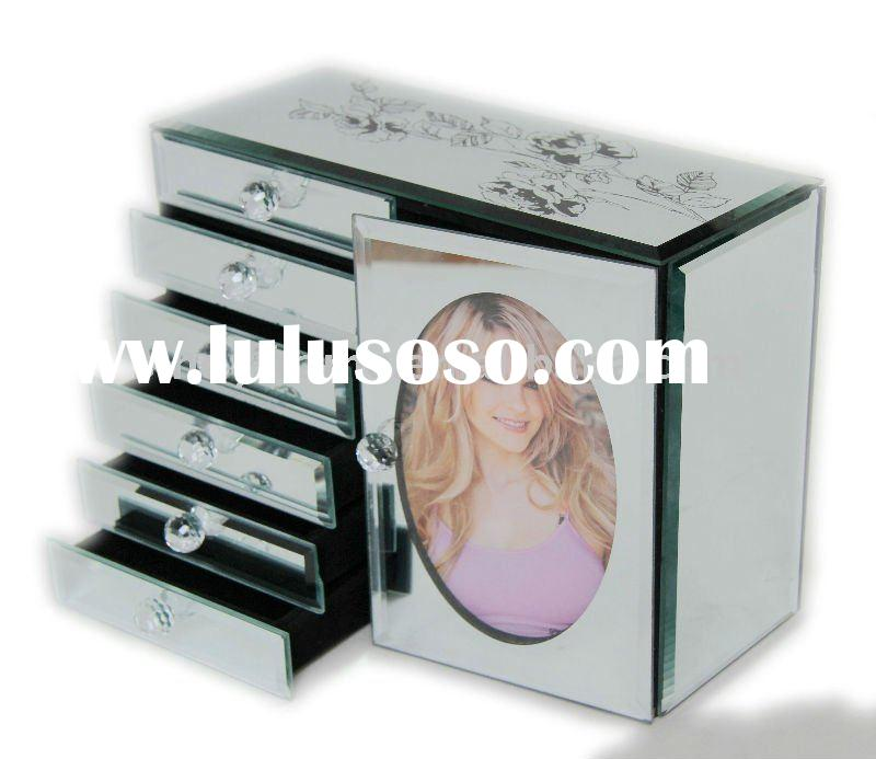 "Mirror glass jewelry box with large size,4""x6""photo frame"