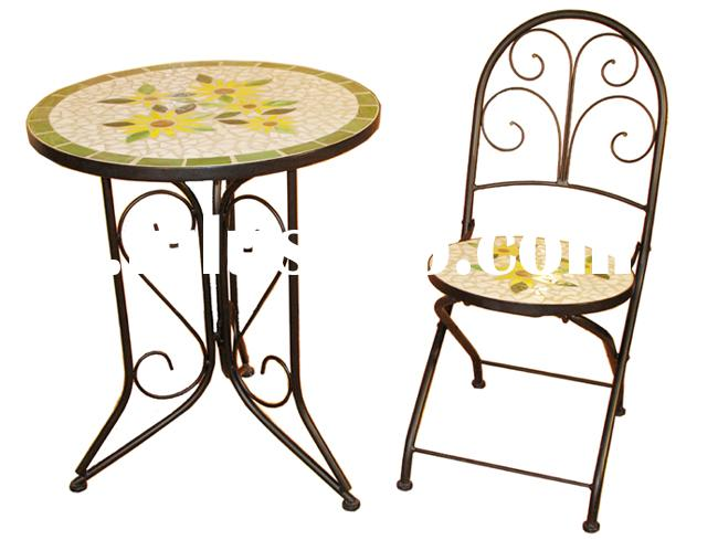Mosaic top wrought iron table outdoor furniture