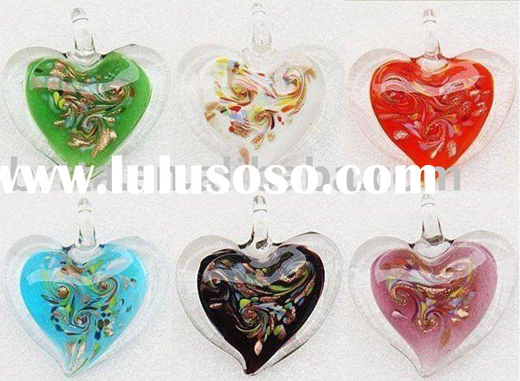 Murano Lampwork Glass Heart Bead Pendant Necklace