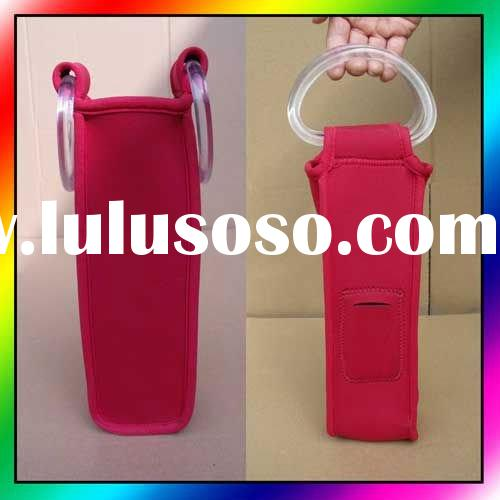 Neoprene collapsible wine tote, Single wine tote, Wine bottle cooler, Champagne bottle holder