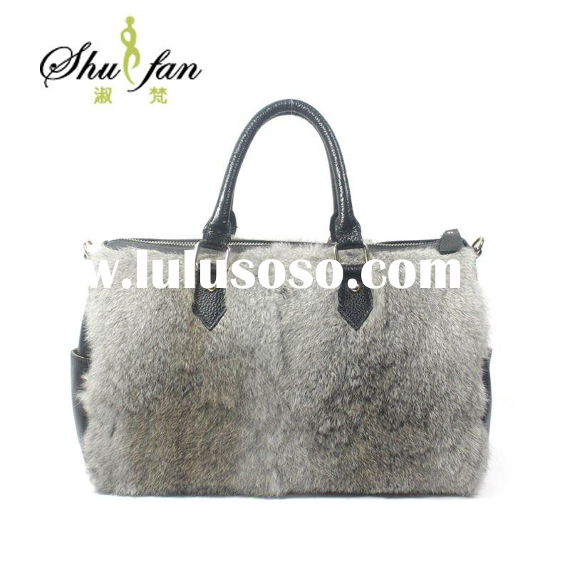 New design ladies rabbit hair bag leather bag fashion handbag
