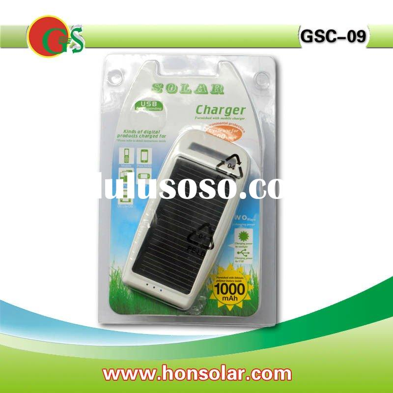 New solar cell phone charger, 1000mah battery, black and white color, charge for Nokia, Moto, samsun