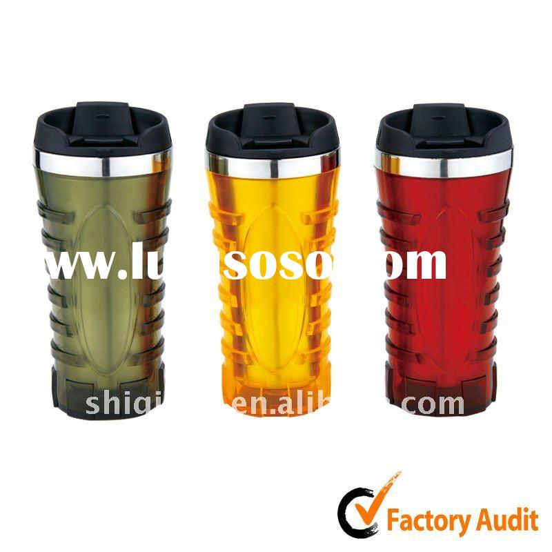 New style 450ml stainless steel thermos mug BL-5090 with push and pour button lid, leakproof design,
