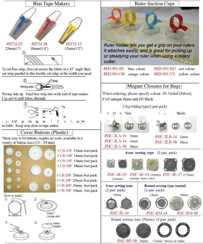 Notions - ruler suction cups, bias tape makers, cover buttons, magnetic closures for bags