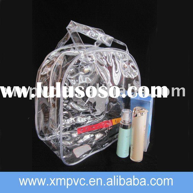 Nylon zipper pvc cosmetic pouch with handles