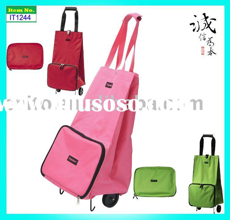 OEM Reusable Collapsible Foldable Rolling Luggage Portable Tote Shopping Bag with Wheels