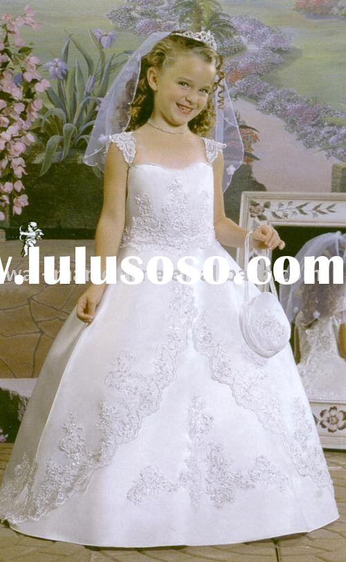 On sale FL070 Ball Gown Cap Sleeve Sweep / Brush Train Satin Floor-length White Flower Girls Dresses