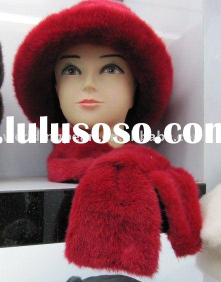 PLUSH FUR WINTER HAT SET WITH SCARF GLOVE HB14
