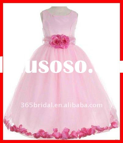 Pink Flower Ball Gown Sleeveless Flower Girl Tulle Dresses 2012