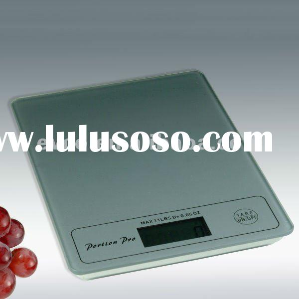 Portion Pro Durable Digital Kitchen Scale w/Tempered Glass Top - Silver