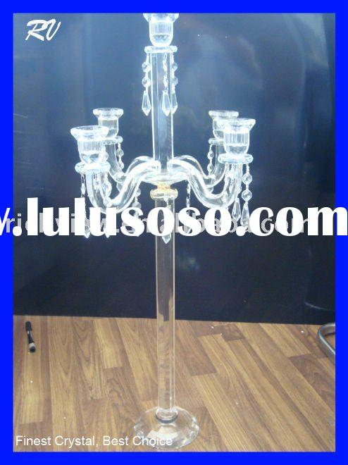 Pretty crystal floor standing candle holder