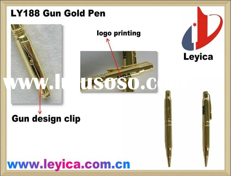 Promotional gold ball pen with Gun Shape Clip