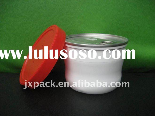 Round plastic bowl with lid for potted food