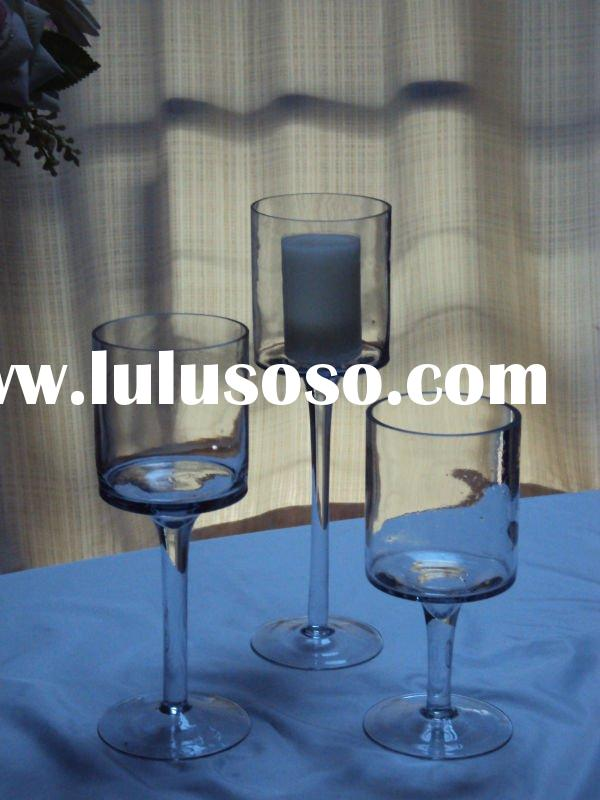 S/3 clear glass candle holder with long stem
