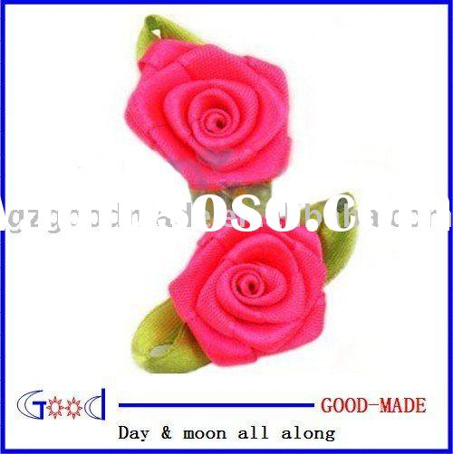 Satin ribbon rose flower applique craft dress