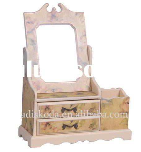 Small Wooden Jewelry Box With Mirror