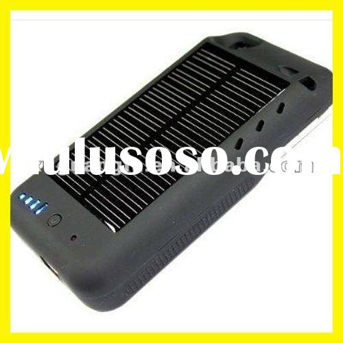 Solar Battery Charger for iPhone 4 Case Cover External Portable USB Solar Power Charger New Black
