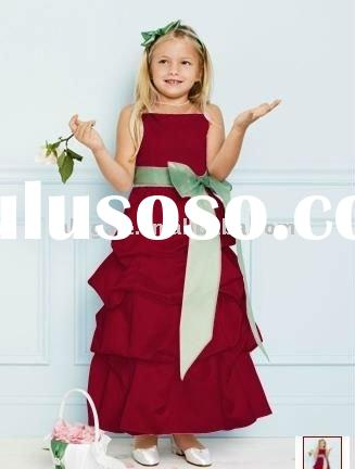 Spaghetti Straps Satin with Pick-up and Bownot Ribbon Flower Girl Dress